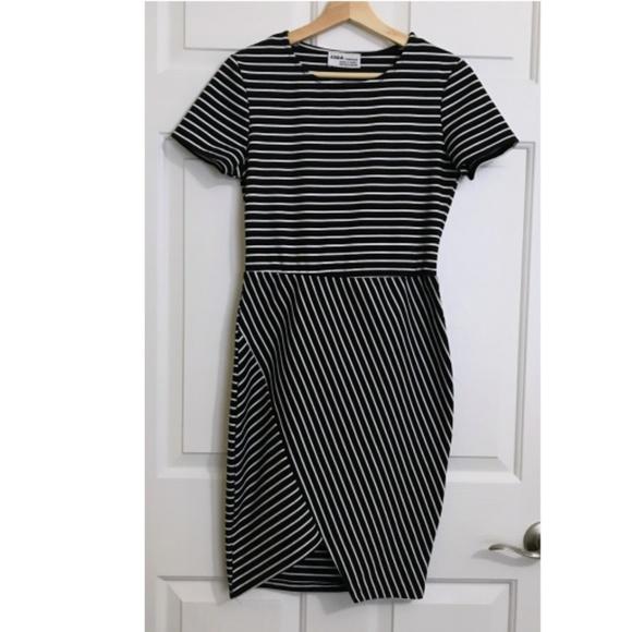 Zara Dresses & Skirts - Zara Trafaluc Striped Asymmetric Bodycon Dress